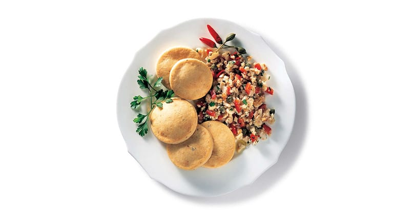 Cialdine al gorgonzola con ragu di merluzzo