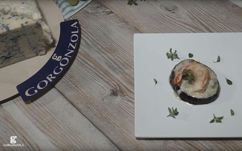 Gambero in pasta fillo, melanzana al gorgonzola